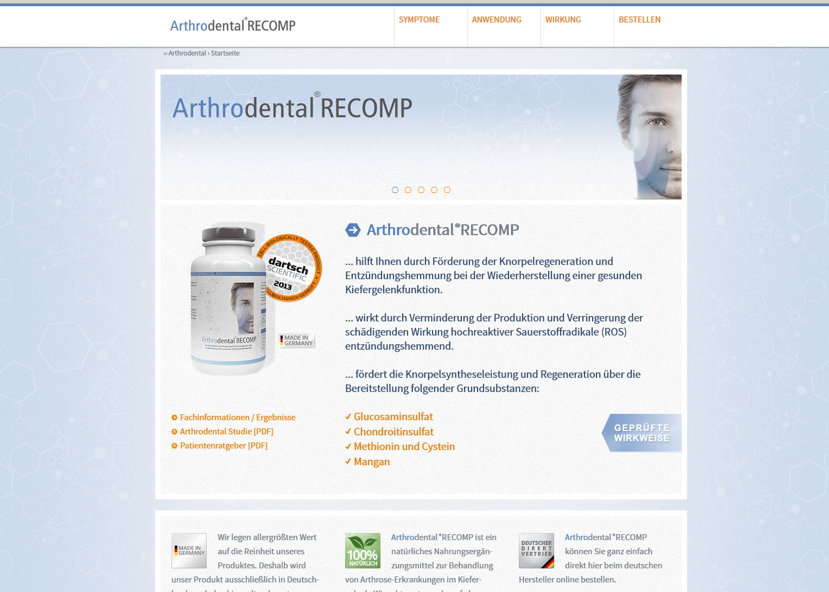 Arthrodental®RECOMP - Website (Screenshot)
